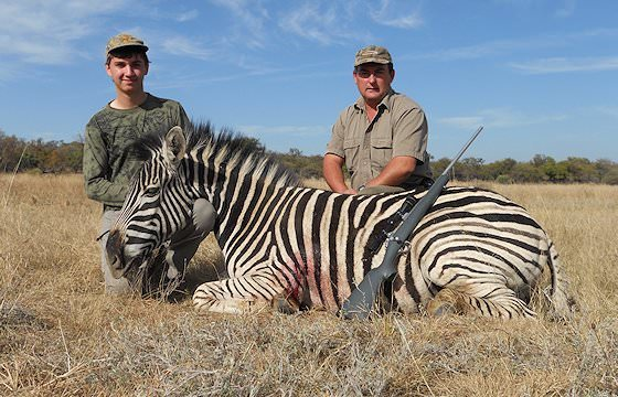 A zebra trophy taken on a hunting safari in the Eastern Cape.