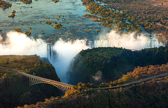 An aerial view of the Victoria Falls.