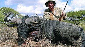 A hunter sits behind his blue wildebeest trophy.