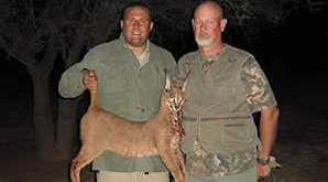 A hunter presents his caracal trophy for a photograph.
