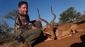 An impala ram hunted on safari.