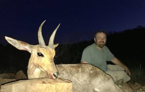 A mountain reedbuck hunted in the early evening.