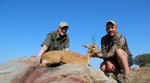 A oribi trophy is presented on a rock.