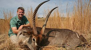 A waterbuck hunted in near floodplains in South Africa.