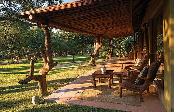 The spacious patio of a luxury safari lodge.