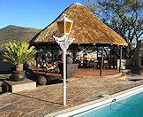 The outdoor pool and boma area at the Eastern Cape hunting camp.