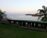 Lake Kariba in the background and the hunting camp in the foreground.