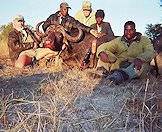 A hunter and his team pose with a Cape buffalo trophy.