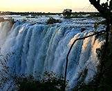 The Victoria Falls are wedged between Zambia and Zimbabwe.