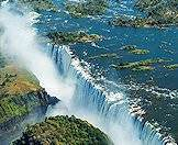 The Victoria Falls as seen from above.