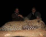 A triumphant pair of hunters with a leopard trophy.
