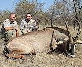 The enormous roan antelope makes a handsome trophy.
