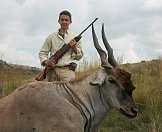 A young hunter with his eland trophy.