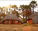 The rustic hunting camp in Zimbabwe.